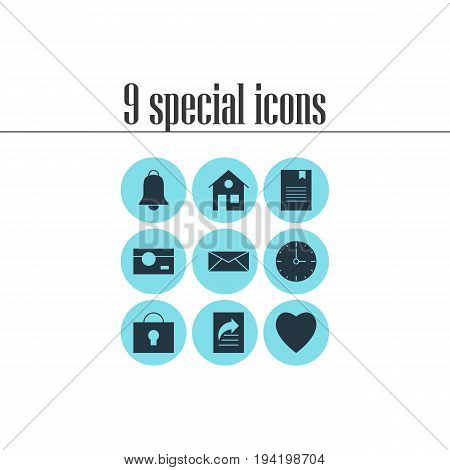 Vector Illustration Of 9 Online Icons. Editable Pack Of Love, Clock, House And Other Elements.
