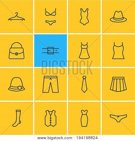 Vector Illustration Of 16 Clothes Icons. Editable Pack Of Panama, Panties, Sarafan And Other Elements.