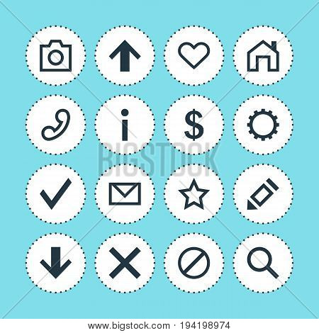 Vector Illustration Of 16 User Icons. Editable Pack Of Top, Letter, Confirm And Other Elements.
