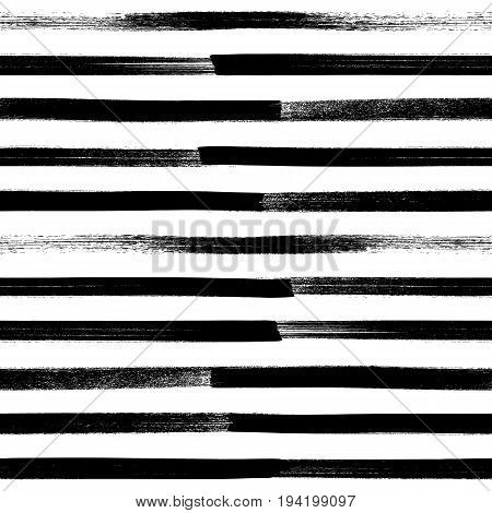 Abstract paint brushstroke seamless background. Black and white hand drawn pattern.