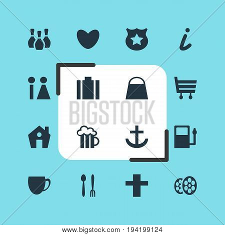 Vector Illustration Of 16 Check-In Icons. Editable Pack Of Heart, Coffee Shop, Cross And Other Elements.