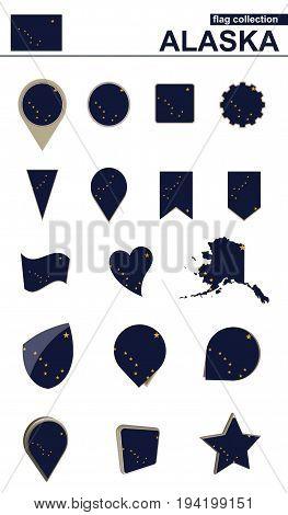 Alaska Flag Collection. Big Set For Design.