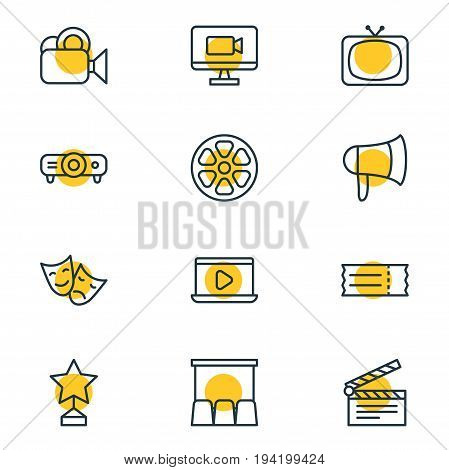 Vector Illustration Of 12 Cinema Icons. Editable Pack Of Tragedy, Movie Reel, Reward And Other Elements.