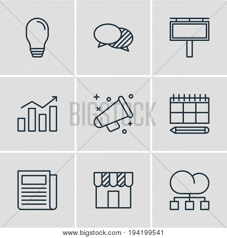 Vector Illustration Of 9 Marketing Icons. Editable Pack Of Daily Press, Statistics, Lamp And Other Elements.