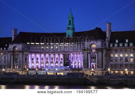 London, UK , September 13, 2011, County Hall at night which was once the home of the government of London and is now where the London Sea Life Aquarium can be found
