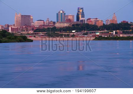 Kansas City Missouri skyline taken from the KAW Point Park. All Copyright and trademarks have been removed.