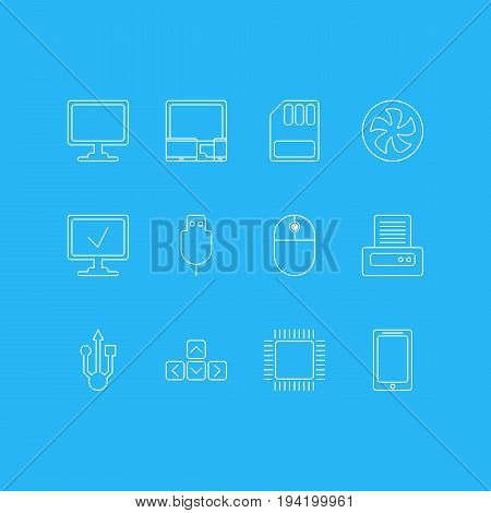 Vector Illustration Of 12 Notebook Icons. Editable Pack Of Storage, Serial Bus, Printer And Other Elements.