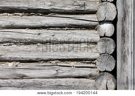 Background texture in the form of logs. The photo shows the wall of a Russian log cabin. Photo taken on a sunny day with deep shadows.