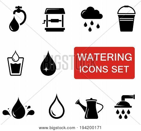 isolated water icon set with red signboard