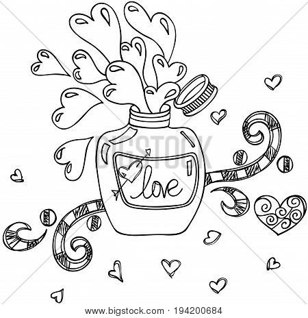 Scalable vectorial image representing a love potion bottle doodle style, isolated on white.