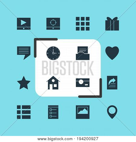 Vector Illustration Of 16 Online Icons. Editable Pack Of Play Button, Grid, Document Transfer And Other Elements.