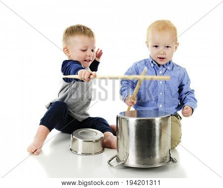 Two adorable toddlers playing