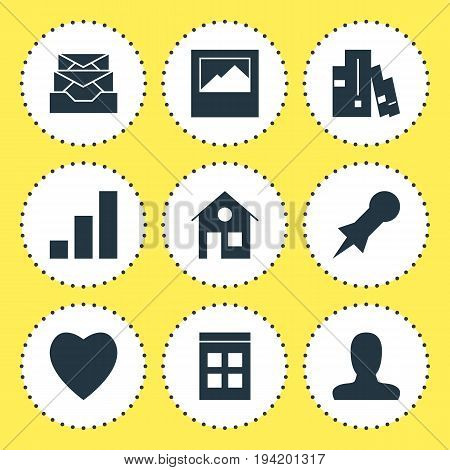 Vector Illustration Of 9 Web Icons. Editable Pack Of Landscape Photo, Increase Chart , Love Elements.