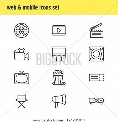 Vector Illustration Of 12 Cinema Icons. Editable Pack Of Clapper, Snack, Hall And Other Elements.