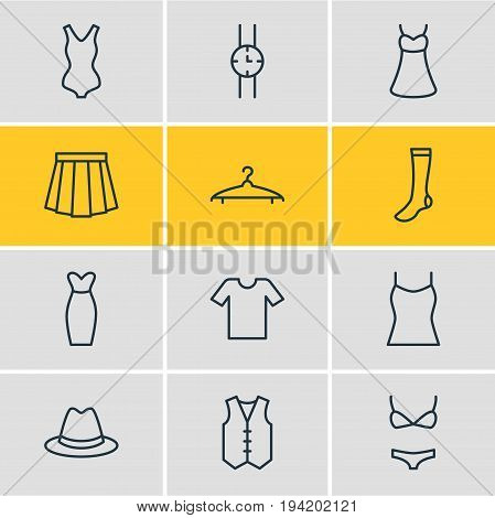 Vector Illustration Of 12 Garment Icons. Editable Pack Of Hosiery, Swimsuit, Hand Clock Elements.