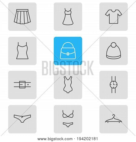 Vector Illustration Of 12 Clothes Icons. Editable Pack Of Evening Dress, Strap, Casual And Other Elements.