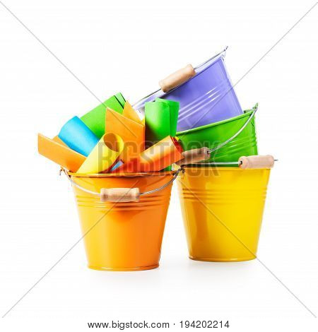 Orange bucket list with colorful paper notes and three empty tins isolated on white background clipping path included