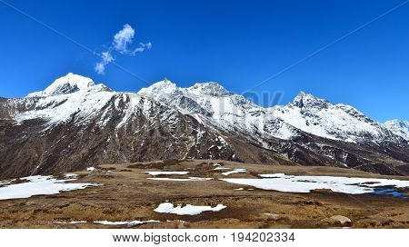 Panoramic View Of The Himalayas From Machhermo Village On The Way To Gokyo Lake, Nepal
