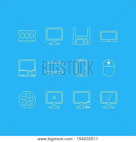 Vector Illustration Of 12 Computer Icons. Editable Pack Of Cooler, Online Computer, Phone Near Computer And Other Elements.