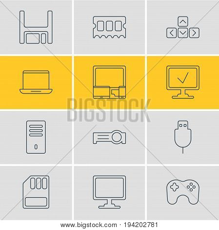 Vector Illustration Of 12 Computer Icons. Editable Pack Of Presentation, Gamepad, Mainframe And Other Elements.