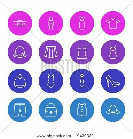 Vector Illustration Of 16 Dress Icons. Editable Pack Of Fedora, Pompom, Swimwear And Other Elements.