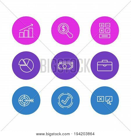 Vector Illustration Of 9 Trade Icons. Editable Pack Of Magnifier, Chart, Columns And Other Elements.