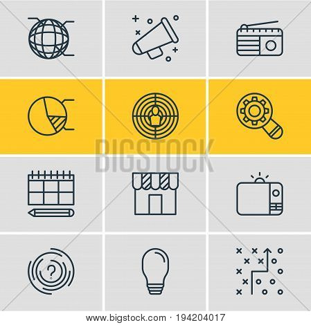 Vector Illustration Of 12 Marketing Icons. Editable Pack Of Fm Broadcasting, Maze, Aiming And Other Elements.