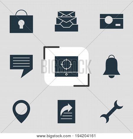 Vector Illustration Of 9 Online Icons. Editable Pack Of Map Pointer, Chat, Capture And Other Elements.