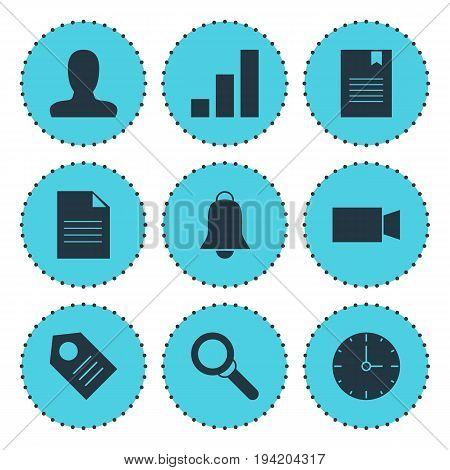Vector Illustration Of 9 Online Icons. Editable Pack Of Account, Clock, Video Camera And Other Elements.