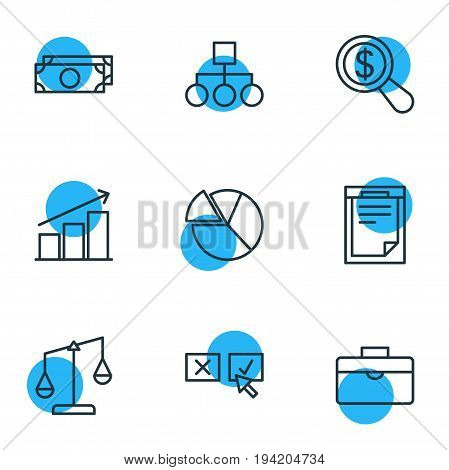 Vector Illustration Of 9 Trade Icons. Editable Pack Of File, Magnifier, Balance And Other Elements.