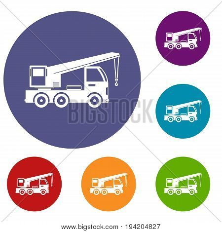 Truck mounted crane icons set in flat circle reb, blue and green color for web