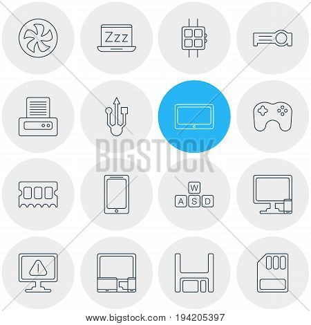 Vector Illustration Of 16 Notebook Icons. Editable Pack Of Storage, Modern Watch, Diskette And Other Elements.