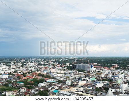KORAT NAKHONRATCHASIMA, THAILAND - JUNE 4, 2017: SKYDECK tower City scape view from the new department store called