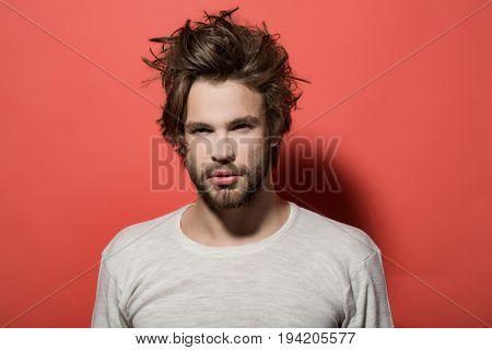 Morning Wake Up Of Man With Beard And Long Hair