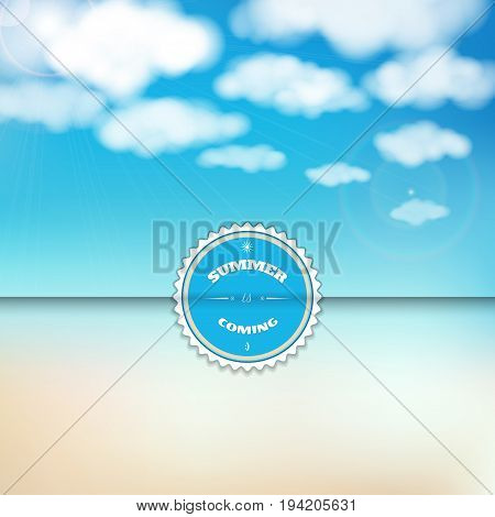 Vector envelope for invitations or congratulations. Sky clouds sunshine and sandy beach. Beautiful inscription - Summer is coming.