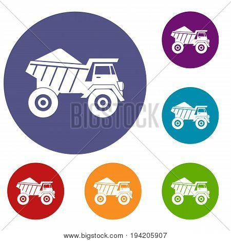 Dump truck with sand icons set in flat circle reb, blue and green color for web