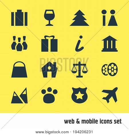 Vector Illustration Of 16 Travel Icons. Editable Pack Of Film, Present, Jungle And Other Elements.