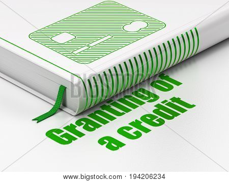 Money concept: closed book with Green Credit Card icon and text Granting of A credit on floor, white background, 3D rendering