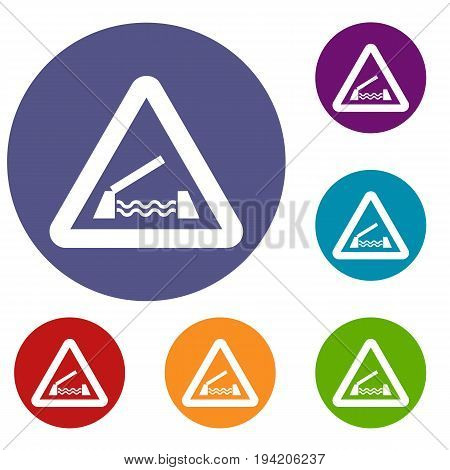 Lifting bridge warning sign icons set in flat circle reb, blue and green color for web