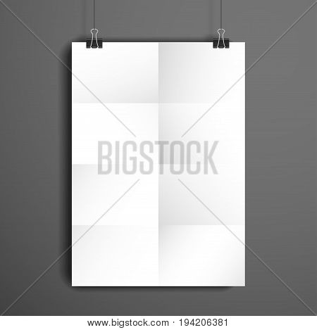 Vector template. White sheet of paper folded in eight. The paper hangs on the clamps.