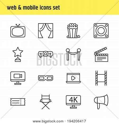 Vector Illustration Of 16 Film Icons. Editable Pack Of Television, Cinema Fence, Coupon And Other Elements.