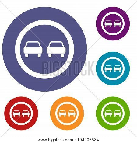 No overtaking road traffic sign icons set in flat circle reb, blue and green color for web