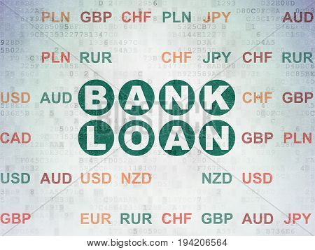 Money concept: Painted green text Bank Loan on Digital Data Paper background with Currency