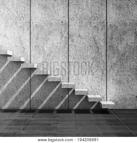 Concrete Stairs Over Wall. 3D Render Illustration