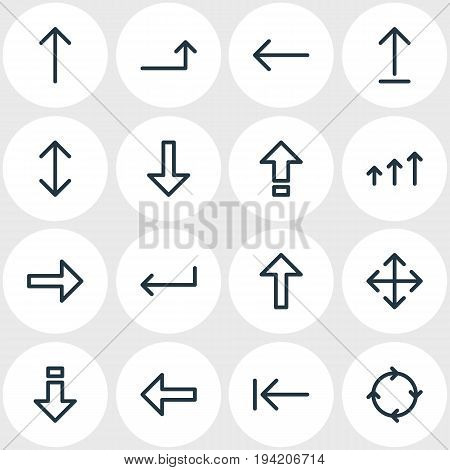 Vector Illustration Of 16 Direction Icons. Editable Pack Of Upwards, Direction, Raise And Other Elements.