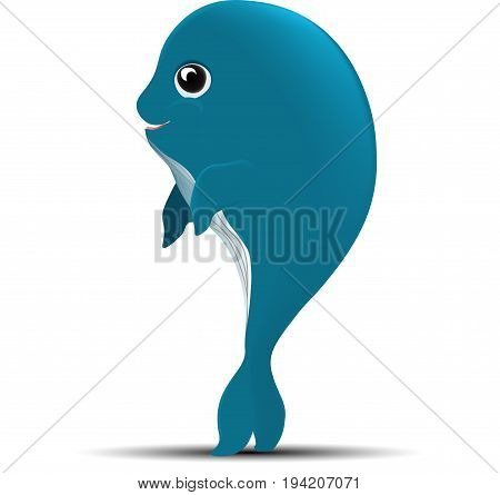 Vector image of a baby blue whale on a white background