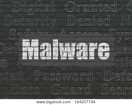 Protection concept: Painted white text Malware on Black Brick wall background with  Tag Cloud