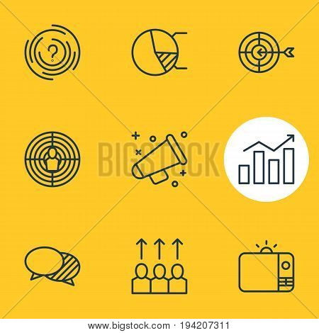 Vector Illustration Of 9 Marketing Icons. Editable Pack Of Advancement, Maze, Aiming And Other Elements.