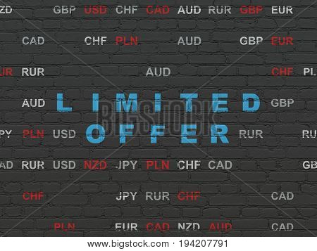 Finance concept: Painted blue text Limited Offer on Black Brick wall background with Currency