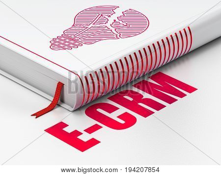 Finance concept: closed book with Red Light Bulb icon and text E-CRM on floor, white background, 3D rendering